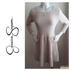 Jessica Simpson cream mini sweater dresses.